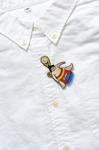 Sumo Wrestler Embroidery Brooch