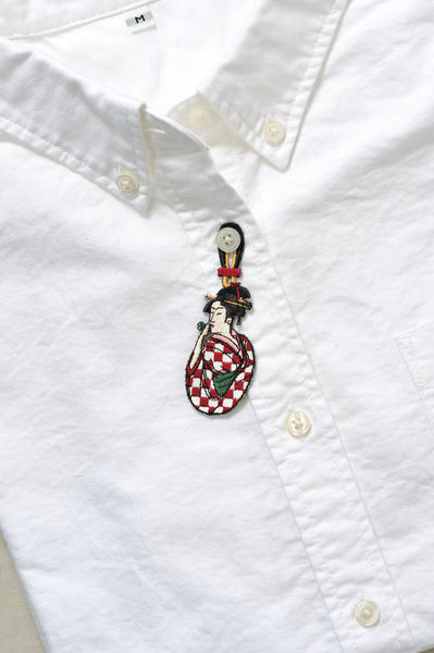 Women Playing Poopin Embroidery Brooch