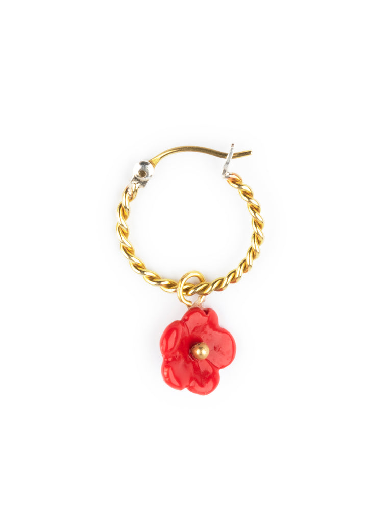 RED FLOWER MINI SINGLE EARRING