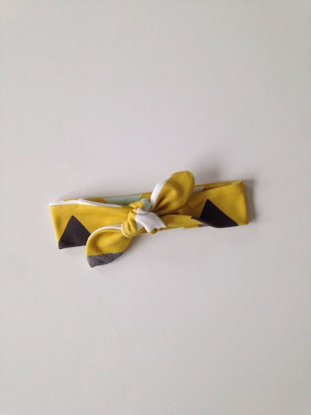 Mustard Triangle Bio Cotton Baby Girl Headband