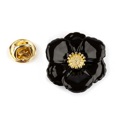 BIG BLACK FLOWER PIN