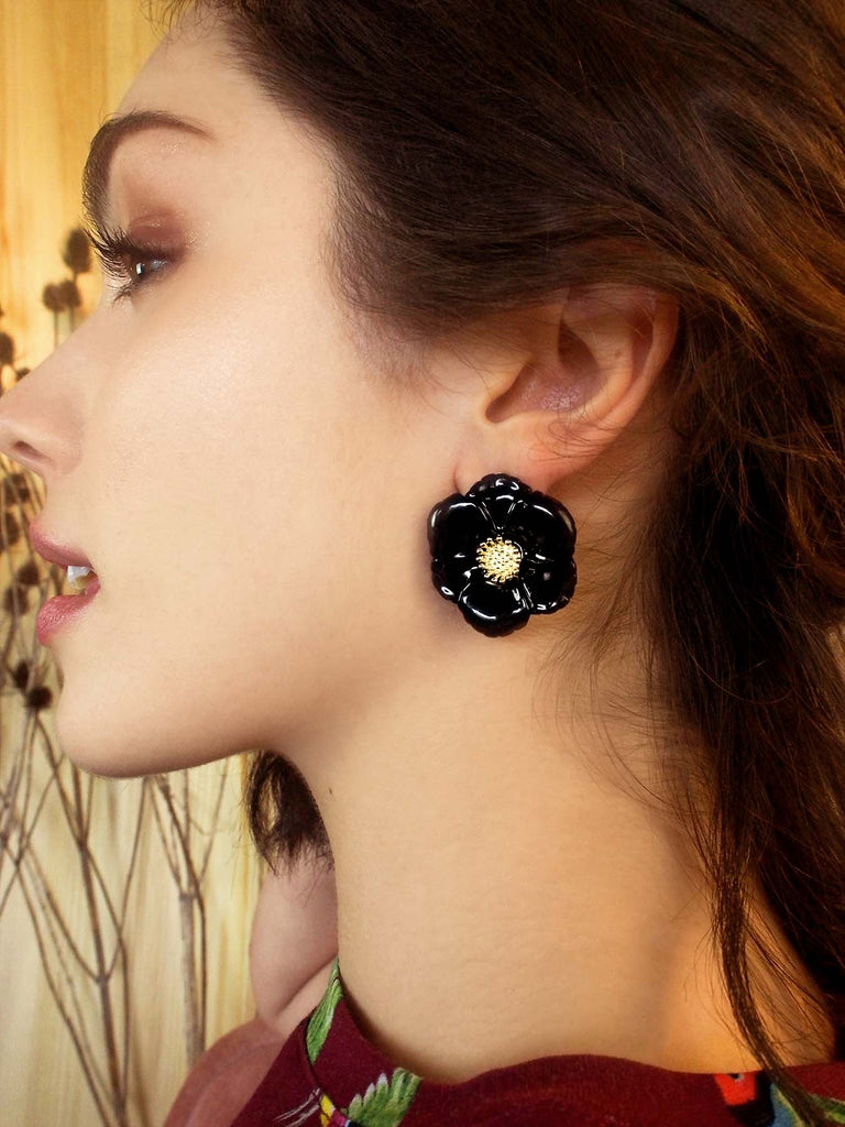 "BIG BLACK FLOWER STUD EARRINGS - ""NATURE MORTE"""
