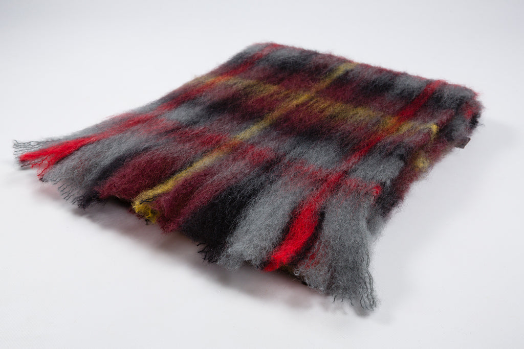 Classic tartan Mohair scarf (Grey, Red, Black, Yellow)