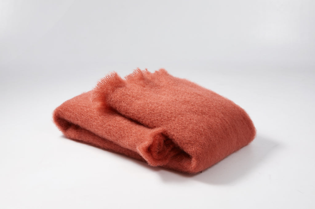 Strawberry color Mohair Scarf