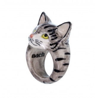 Tabbey Grey Cat Ring