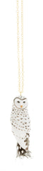 White Owl With Feather necklace