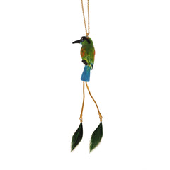 Motmot Bird with Feather necklace