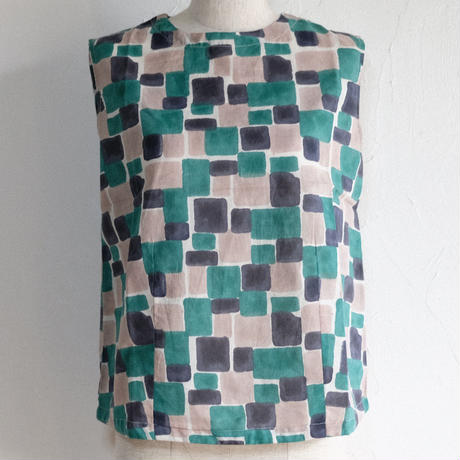 Cube Cotton Tank in Green