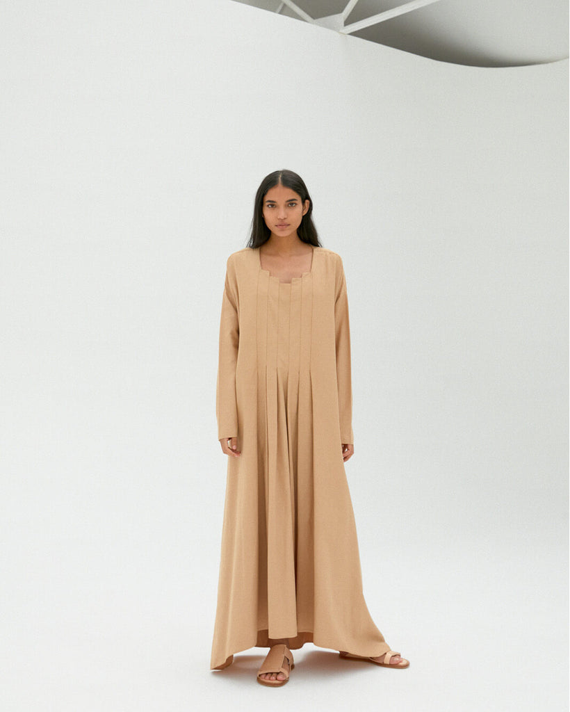 CAMEL PLEATED LIGHT COTTON DRESS