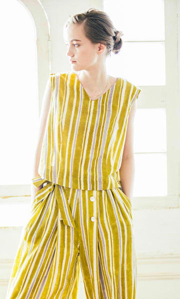 Stripes Top in Mustard Yellow