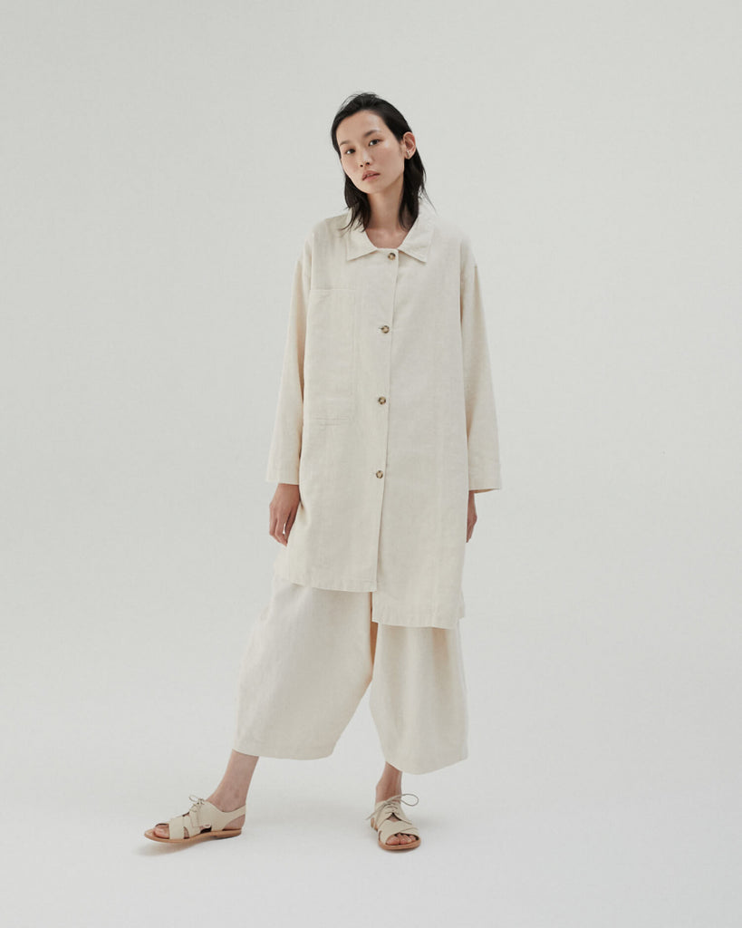 IVORY RAMIE POCKET COAT