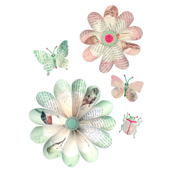 Flowers wall stickers mint and pink