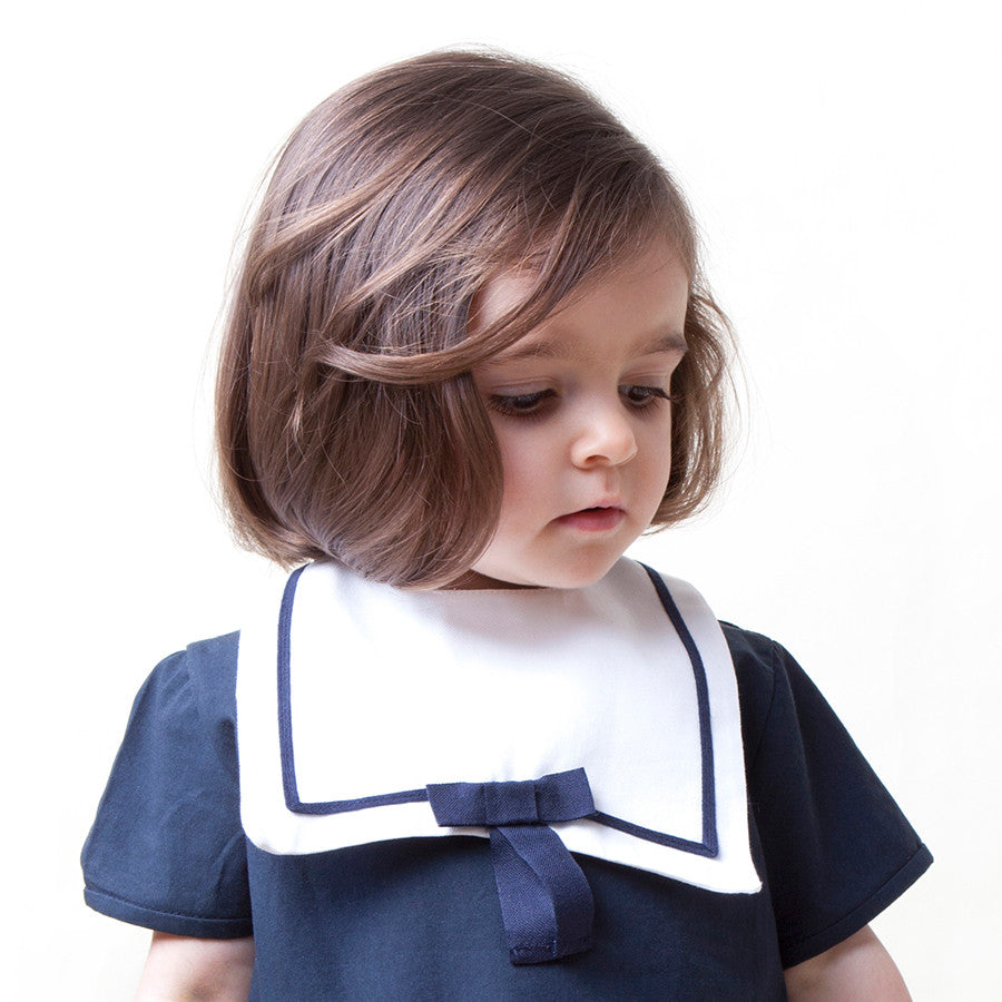 white sailor bib with bow tie