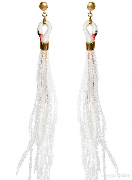 White Swan Earrings with Feather