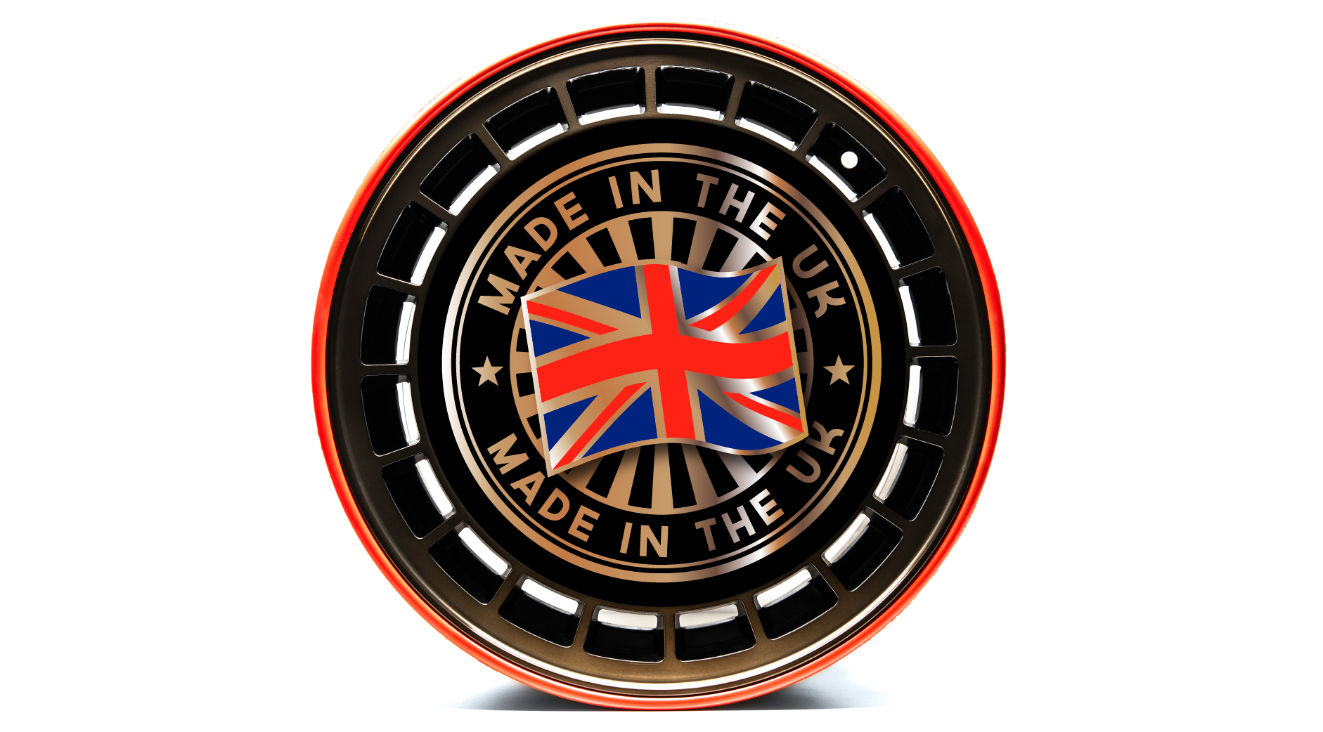 Red continuous rubber band technology RIMFINITY fitted to a bare bronze wheel alloy with 'Made in the UK' stamp with British Flag