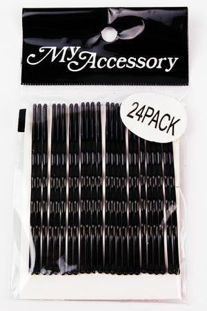 Long Bobby Pins in Black 24 Pack