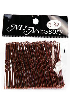 U Shape Bobby Pins in Brown 72 Pack