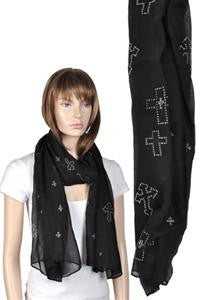 Long Scarf w/ Silver Cross Stone Design