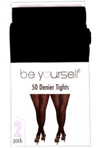 Full 50 Denier Black Tights 2 Pack