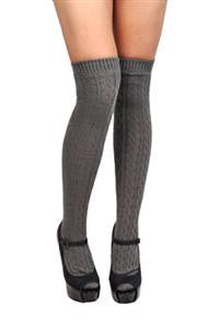 Over The Knee Socks Knit Cable Grey