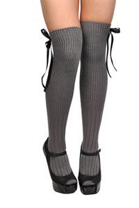 Over The Knee Socks Knit Ribbed Grey With Black Bows