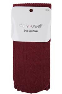 Over The Knee Socks Knit Cable Wine