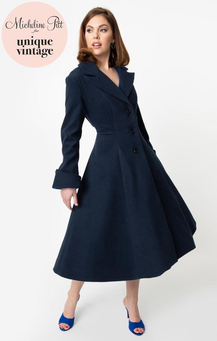 PRE ORDER Micheline Pitt For Unique Vintage 1950s Style Navy Blue Neo-Noir Swing Coat