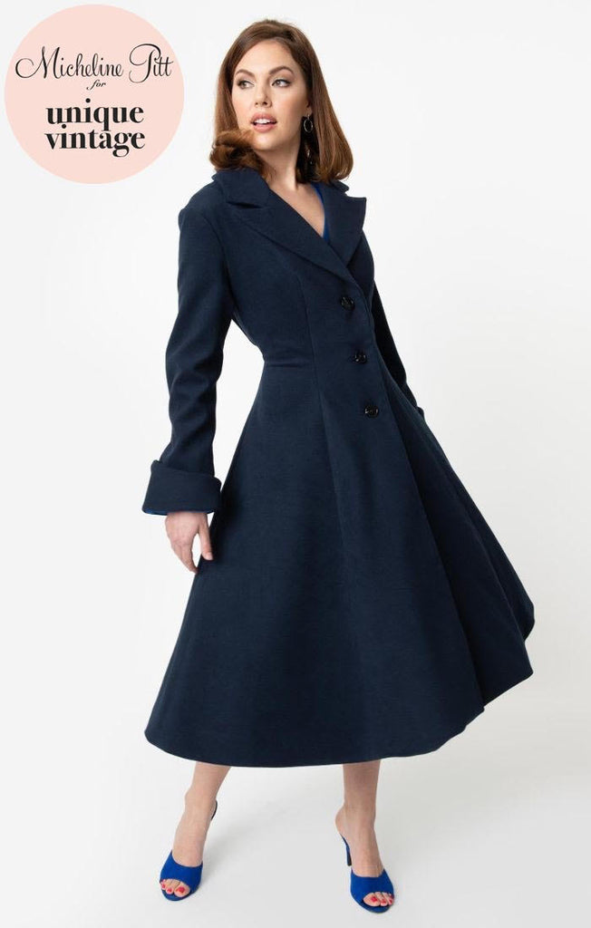 Micheline Pitt For Unique Vintage 1950s Style Navy Blue Neo-Noir Swing Coat - Natasha Marie Clothing