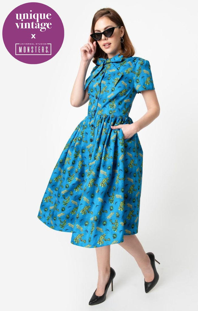 Universal Monsters x Unique Vintage 1950s Creature From The Black Lagoon Print Swing Dress - Natasha Marie Clothing