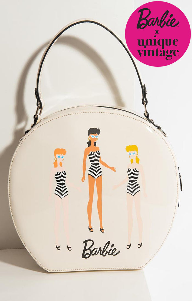 Barbie X Unique Vintage Cream Leatherette Swim Beauties Circle Bag