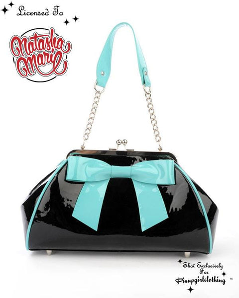 Bow Handbag in Black with Blue