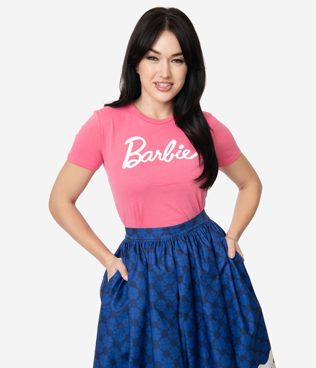 Barbie x Unique Vintage Hot Pink Barbie Logo Womens Tee (XL and 3XL ONLY)