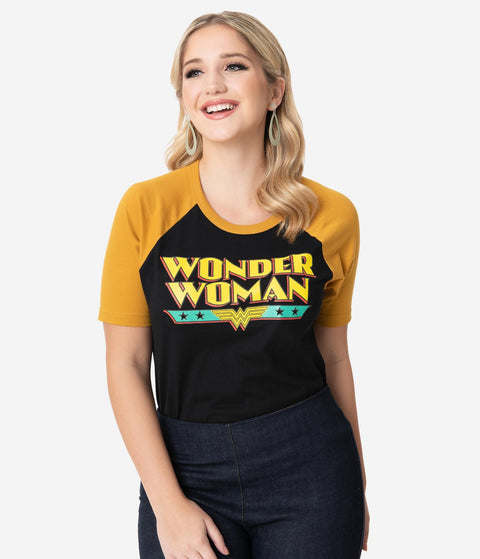 Wonder Woman x Unique Vintage Retro Logo Unisex Tee