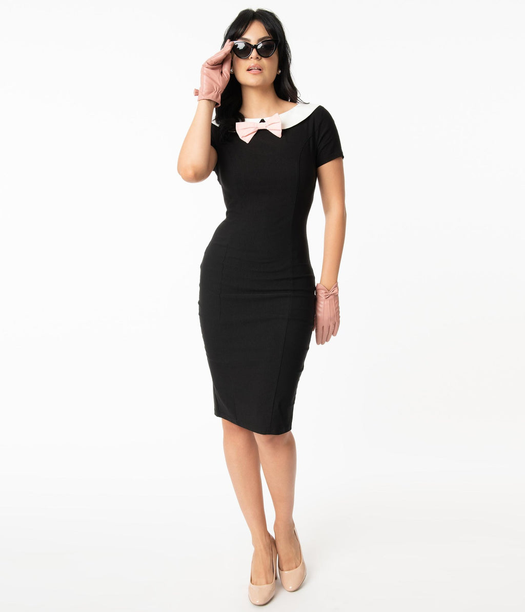 PRE ORDER Unique Vintage 1960s Black & White Collar Plaza Wiggle Dress
