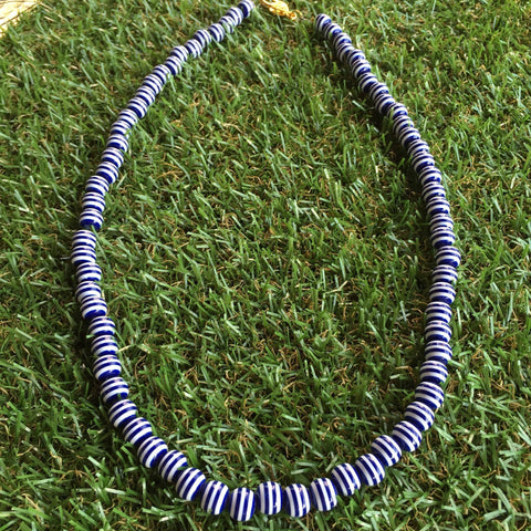 Long Carnival Stripe Necklace in Navy