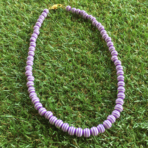 Long Carnival Stripe Necklace in Lavendar