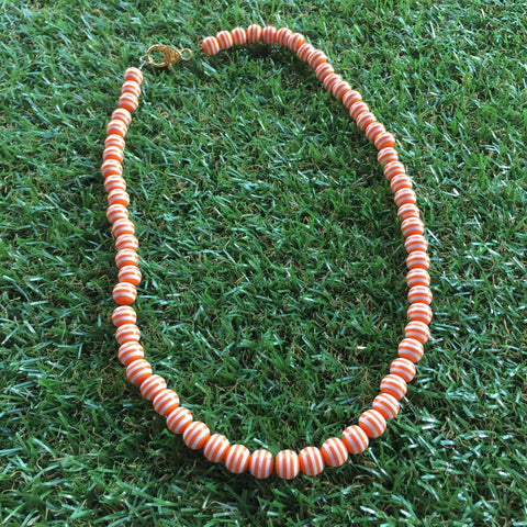 Long Carnival Stripe Necklace in Orange