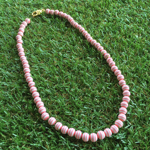 Long Carnival Stripe Necklace in Peachy Pink