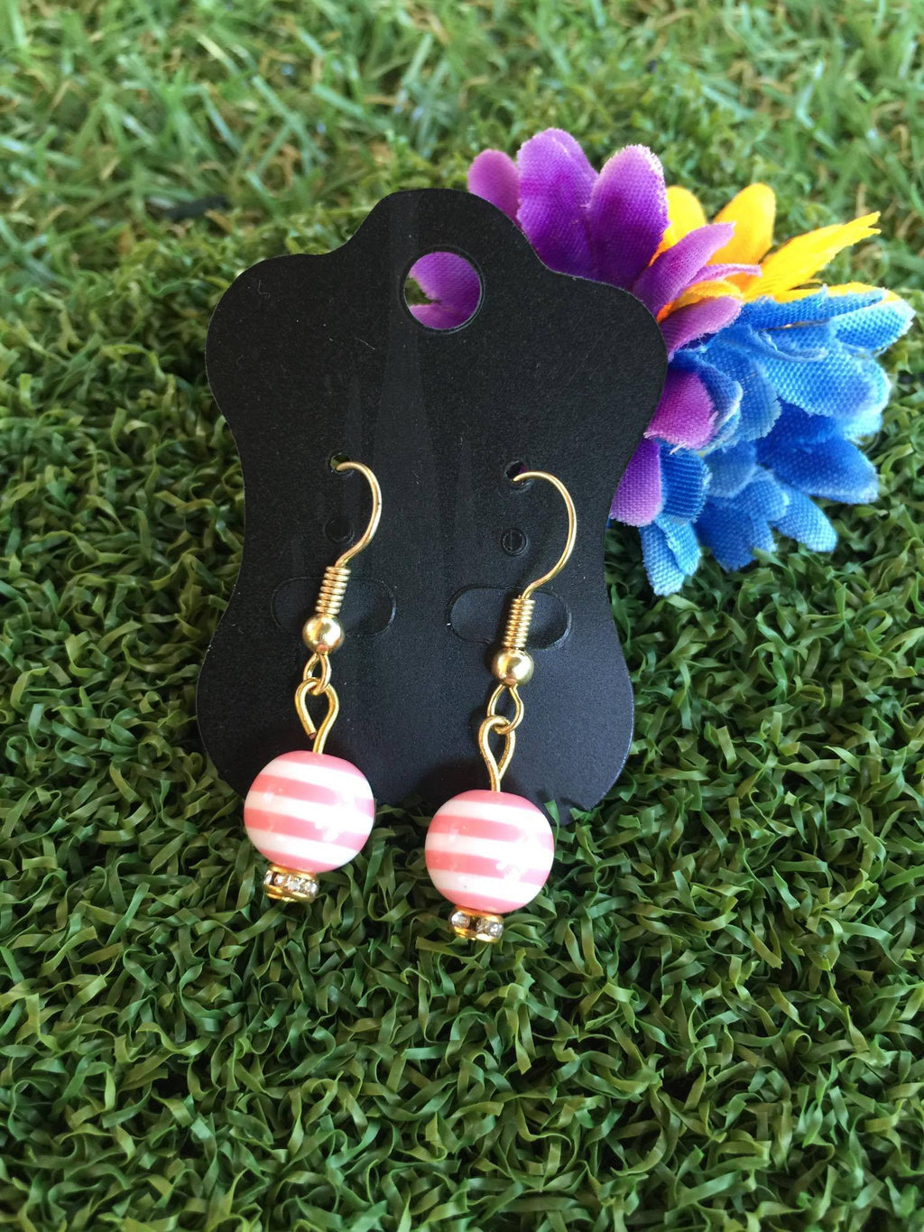 Carnival Stripe Bead Earrings in Peachy Pink