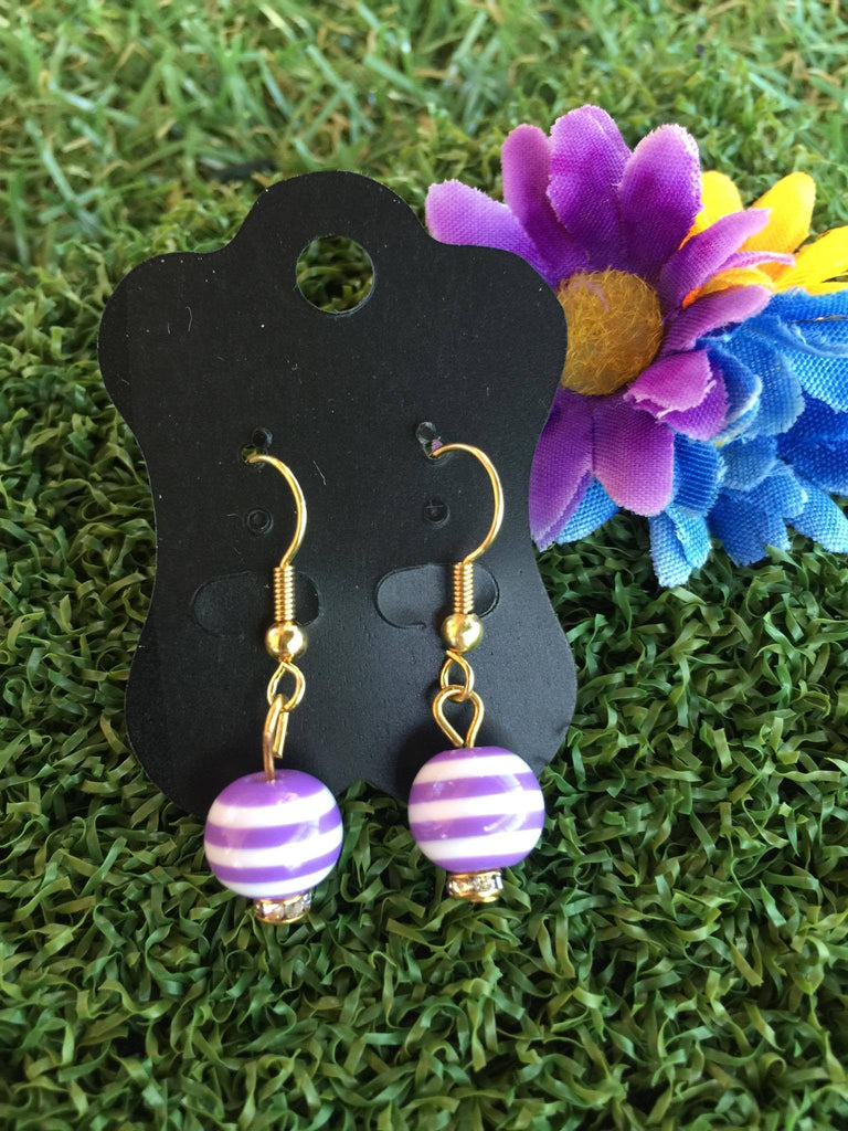 Carnival Stripe Bead Earrings in Lavender
