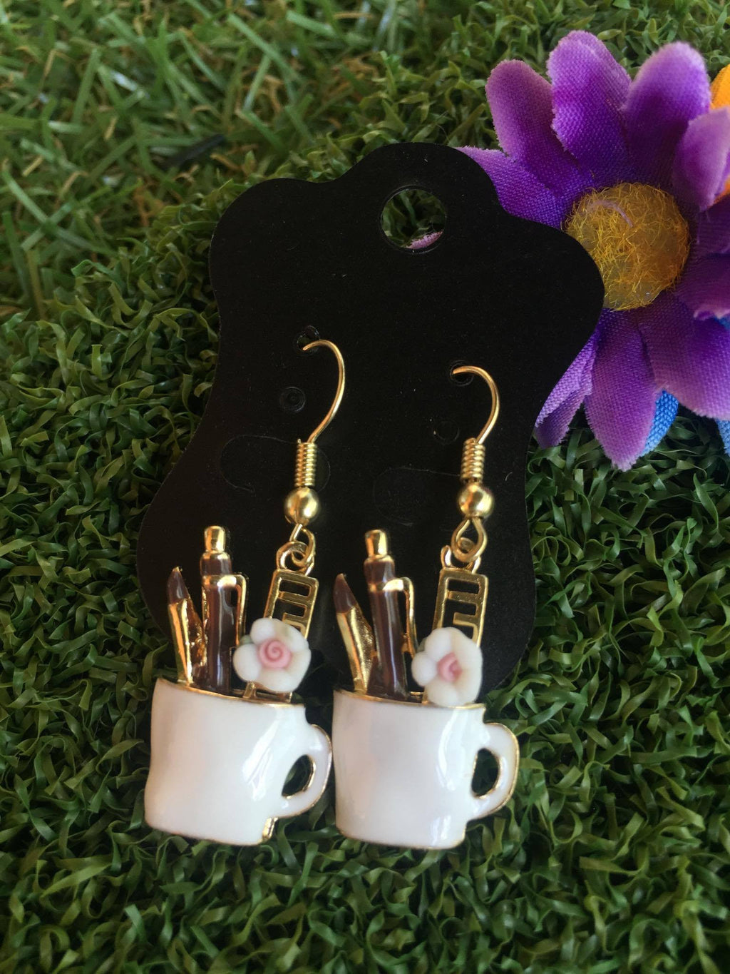 Desktop Mug Enamel Earrings