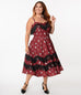 Unique Vintage Burgundy Cowgirl Print Girlie Swing Dress