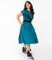 Unique Vintage 1950s Teal Madeline Swing Dress