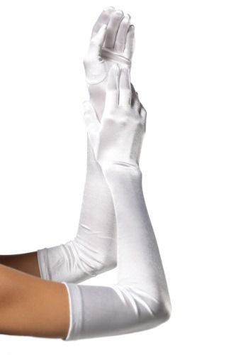 Long Satin Gloves White