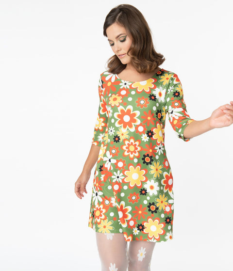 Smak Parlour Retro Geo Floral Print Cosmic Shift Dress