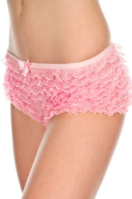 Micro Mesh Lace Ruffle Shorts in Pink