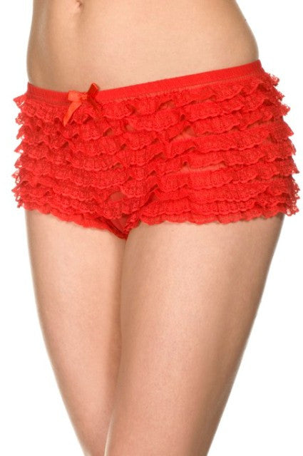 Micro Mesh Lace Ruffle Shorts in Red