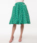 Unique Vintage Green & Pink Hearts Print Susannah Swing Skirt