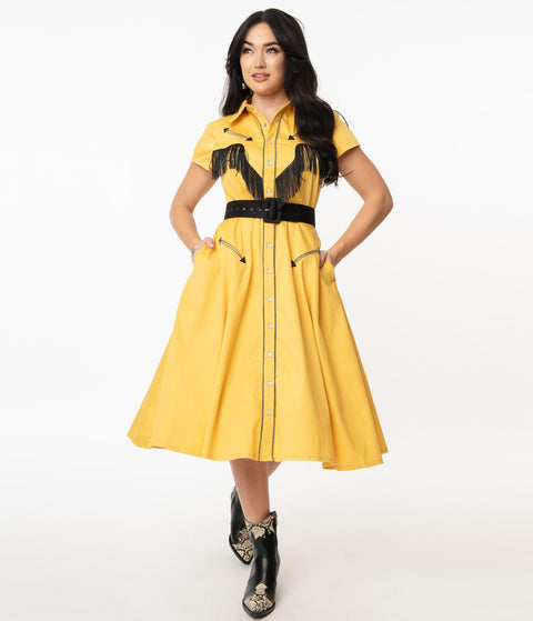 Unique Vintage 1950s Mustard Madeline Swing Dress