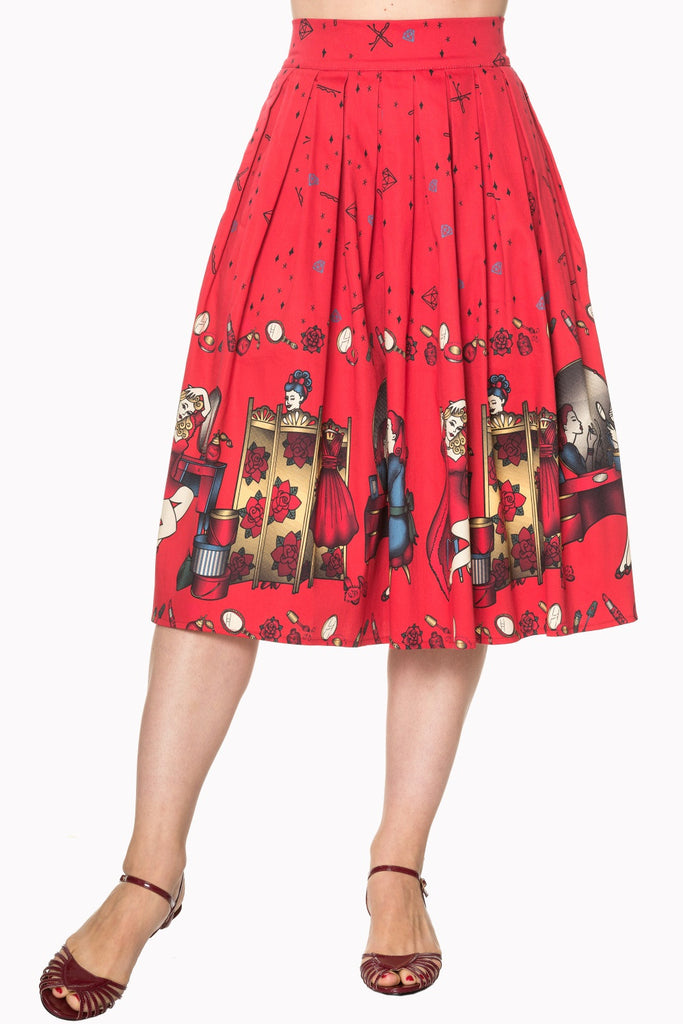 Vanity Swing Skirt in Red (XS, S and M ONLY) - Natasha Marie Clothing